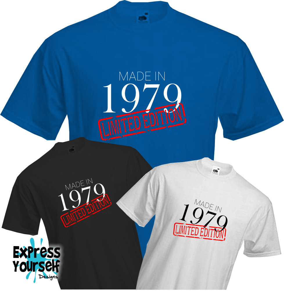 MADE-IN-LIMITED-1979-T-Shirt-40th-BIRTHDAY-2019-Fun-Present-Gift-NEW