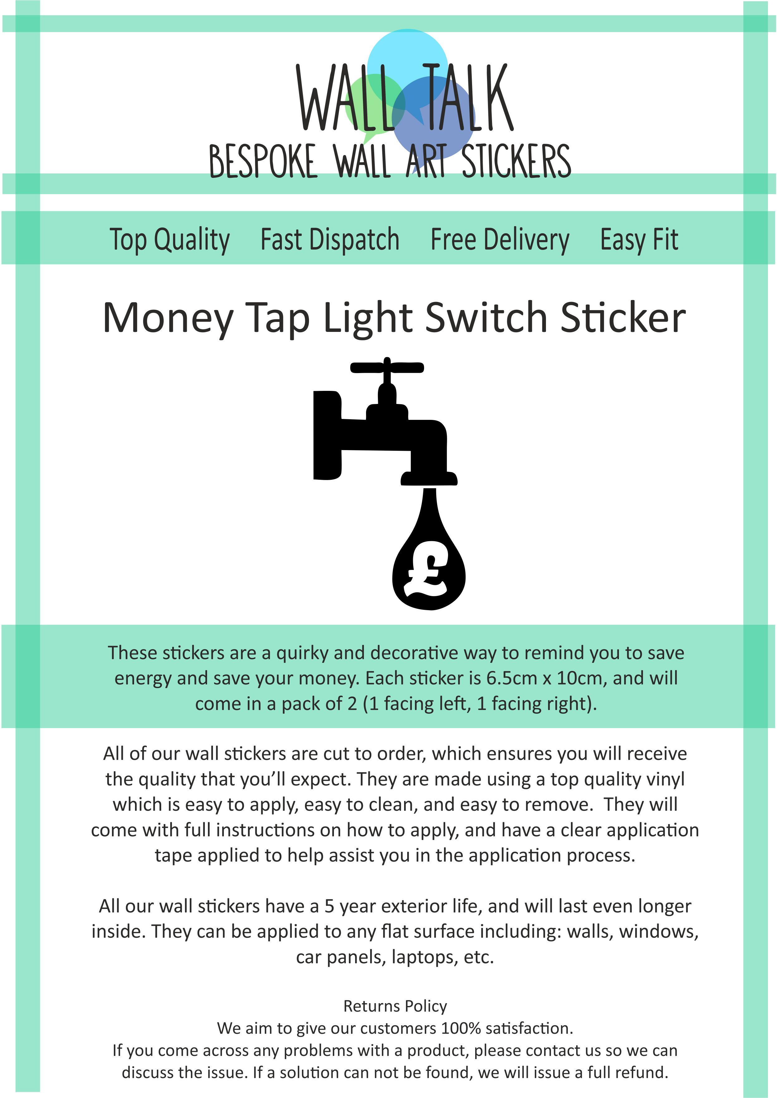 Money Tap Light Switch Sticker Save Energy Environment Bill Reminder How To Replace A Made Easy Store Categories