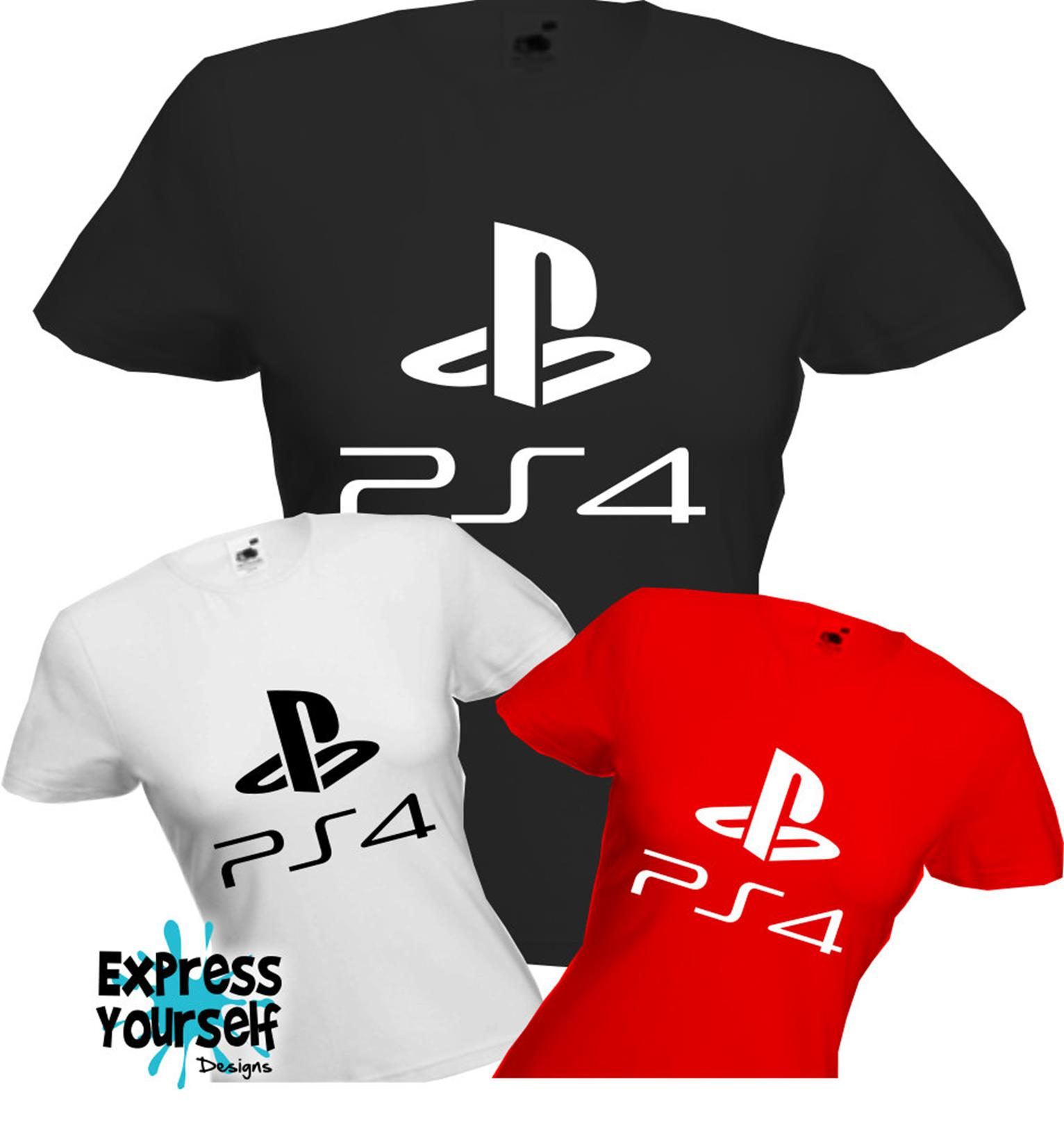 3aa7292040 Details about PS4 - PLAYSTION 4 - T Shirt, Logo, Gaming, Present, Fun, Cool,  Quality, NEW